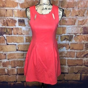 Monteau pleated coral skater mini dr… 4/$25